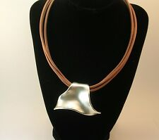 BAT AMI Sterling Silver and leather cord  MODERNIST NECKLACE