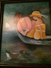 Watercolor Art Woman And Girl In Boat Ducks painting