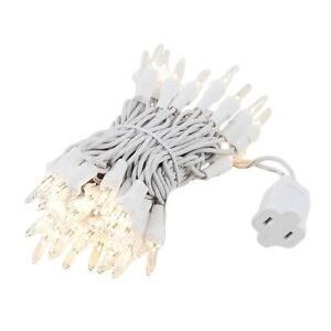 50 Light Christmas Mini Light Set, White Wire, 11' Long