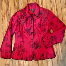 Ann Carson Coat Jacket Blazer Red & Black Asian Medium Sequins Beads Feminine