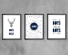 Boys bedroom Prints Navy and grey - personalised - Home Decor  - FREE P&P