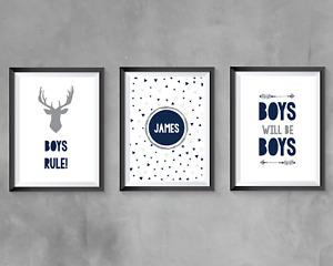 Boys Bedroom Personalised Prints Wall Art Navy Grey Bedroom Decor Boys Rule A4