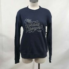 Obey Women's Crew Sweatshirt Worldwide Quality Dissent Navy Blue Size S NWT