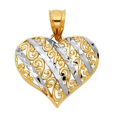 14K Solid Two-Tone Rose & Yellow Gold Heart Charm Pendant 1.2 g Jewelry