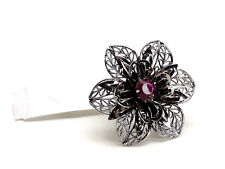 Guess Dark Silvertone Pink Crystal Flower Stretch Ring New! NWT