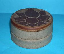 Studio Pottery - Attractive 'Flower Design' Round Lidded Trinket Box (Signed).