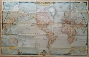 Vintage National Geographic The World Map December 1951