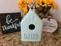 "RAE DUNN Fall Thanksgiving ""BLESSED"" Green Birdhouse with Burlap Bow"