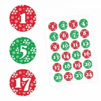 24 Adventskalender Zahlen Aufkleber ROT/GRÜN Schneeflocken-rund 4 cm Ø-Sticker