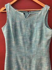 Talbots Dress 12 Blue Tweed Sheath Wear To Work Fitted Aqua Turquoise Large