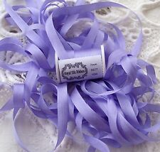 "100%SILK EMBROIDERY RIBBON 1/4""[7MM] LAVENDER/BLUSH  COLOR   5 YDS"