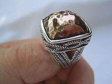 "Estate Sterling Silver and Hammered Copper Ring, Size 8.5, Signed ""BARSE 925"""