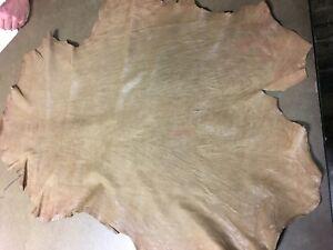 Italian Lambskin leather lamb skin hide distressed light brown - 5 Sq.Ft (#2026)