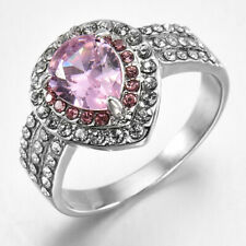 925 Silver Pink Sapphire Ring Engagement Wedding Women Jewelry US Size 6-10