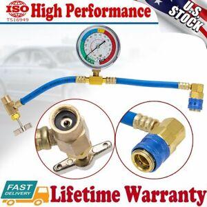 "R-134a 1/2"" Recharge Measuring Hose Pressure Gauge AC Refrigerant Charging Pipe"