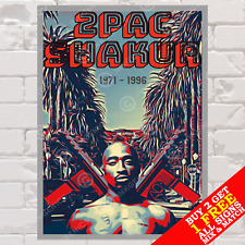 More details for metal sign 2pac hip hop rap music art wall decor tin photo poster plaque tupac