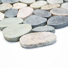 Fliesen Mosaik Mosaikfliese Bad Boden Naturstein Kiesel Mix flach 9mm Neu #272