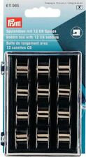 3x7x9cm Bobbin Box with 12 CB Metal Bobbins Prym Craft Accessories (1pk)