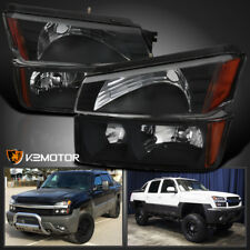 Black 2002-2006 Chevy Avalanche 1500 2500 Headlights+Signal Bumper Lamps Pair