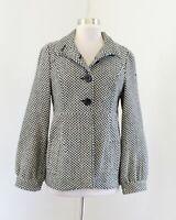 Jack BB Dakota Black White Herringbone Button Jacket Coat Size M