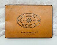 Vintage Cigarette Tin-Tobacco/Tobacciana-Wills's Whiffs/Wills-Orange/Star Motif