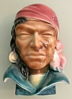 Vintage Royal Copley Pirate Gypsy Head Vase Wall Pocket Pottery Planter 8 1/2""