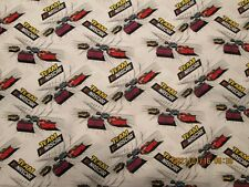NASCAR RACING  100%  COTTON NEW WHITE BACKGROUND 1/2 YD  by  CAMELOT FABRICS NEW