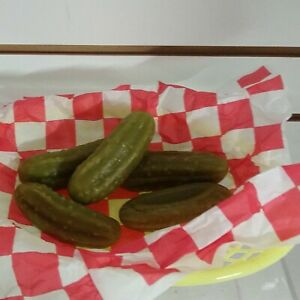 Fake Wax Pickles In A Yellow Plastic Basket Fun Food Prop 5 Pickles Paper Liner
