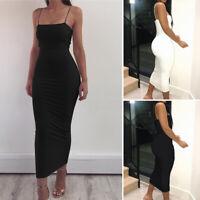 Sexy Women Solid Camisole Spaghetti Strap Long Tank Tops Midi Slip Dress Summer