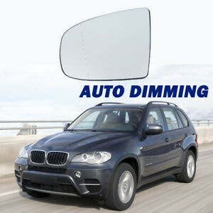 X AUTOHAUX Mirror Glass Heated with Backing Plate Passenger Side Right Side Rear View Mirror Glass for BMW X5 X6