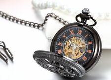Steampunk Half Hunter Mechanical Movement Pocket Watch Arabic Numbers Case