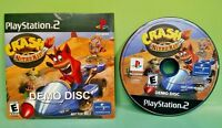 Crash NITRO KART Demo Disc with Cardboard disc jacket Rare - PS2 Playstation 2