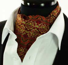 Intricate Gold Red Black Paisley Cravat Ascot Tie Floral Scarf A12