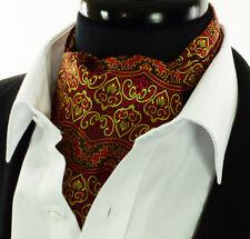 Men's Gold Red Black Paisley Cravat Ascot Tie Floral Scarf A12