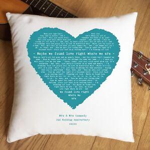Any Song Lyrics Music Heart Cushion - 2nd Cotton Anniversary Gift 1st Dance