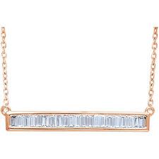 Diamante Baguette Barra 40,6 -45 , 7cm Collar en 14k oro rosa ( 1/2 Ct. TW
