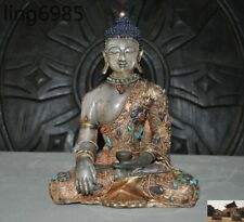 "9""Tibet Silver Filigree Gilt inlay Turquoise gem crystal Sakyamuni Buddha statue"