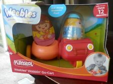 WEEBLES WOBBLIN' GO-CART + SIDE CART W/ 1 WEEBLES BOY HOLDING A PUPPY