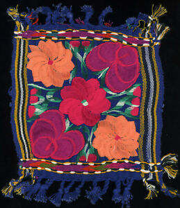 Vintage Complex Hand Embroidered Silk Thread Flower Sampler Square Guatemala?