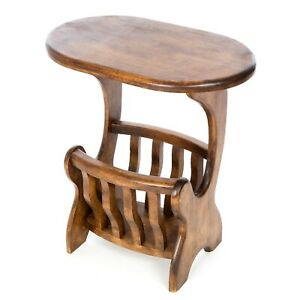 Solid Wood Telephone Table Plant Stand Side Table with Paper Rack FU-629-DARK