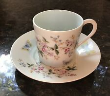 LIMOGES France Demitasse Cup And Saucer White Multi Flowers, Butterfly,