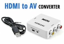 Compact HD HDMI to AV Video Converter PAL/NTSC Composite RCA TV PC WHITE