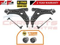 FOR POLO FABIA IBIZA 2 FRONT LOWER BOTTOM WISHBONE ARMS 2 CONSOLE BUSHES 2 LINKS