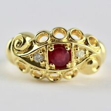 Victorian Style Ring red ruby and Natural Diamond 18ct gold on 925 silver