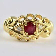 Anillo De Estilo Victoriano Rojo Rubí Y Diamante Natural 18ct oro sobre plata 925