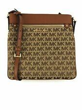 Michael Kors Connie Large NS North South Crossbody Handbag MK Logo Beige Ebony