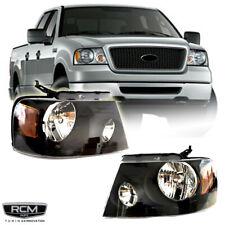 Fits 2004 2008 Ford F150 Black Headlights Clear Lens Headlamp Pair Set RH LH