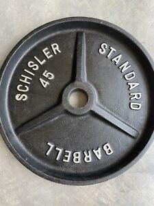 "Schisler Barbell 45 Lb Deep Dish 2"" Vintage Weight Plate Original Finish Lot #1"