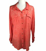 Eddie Bauer Burnout Button Down Long Tab Sleeve Coral Orange Shirt Women's XL