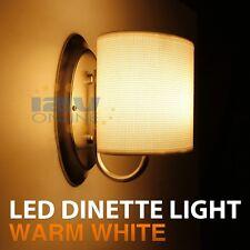 12V LED White Fabric Shade Wall Sconce RV AUTO Boat Porch Hall Interior Lighting